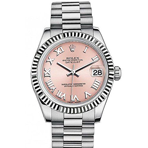 Rolex Datejust 31mm Pink Roman Dial White Gold Ladies Watch 178274 * Click on th...