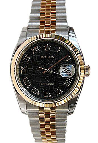 Rolex Datejust 36mm Black Roman Dial Fluted Watch 116233 ** You can get more det...