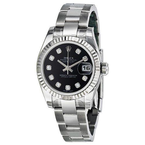 Rolex Datejust Black Diamond Dial Oyster Bracelet 18kt White Gold Bezel Ladies W...