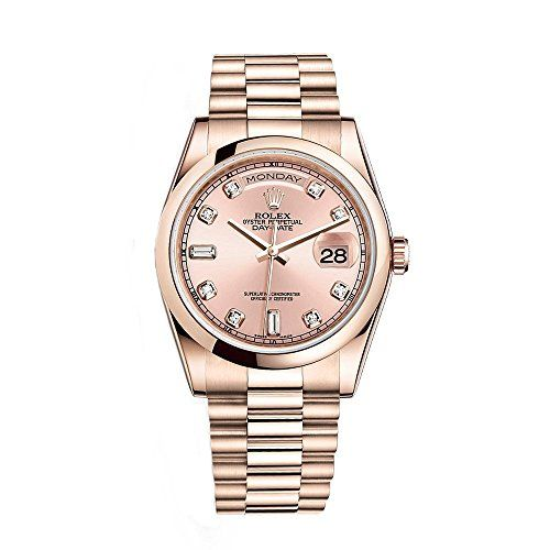 Rolex Day-Date President 36mm Everose Gold Watch 118205 Diamond Dial 2016 -- Con...
