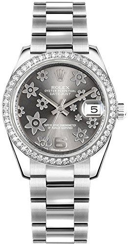 Rolex Lady-Datejust 31 Floral Motif Rhodium Dial Oyster Womens Watch 178384 -- C...