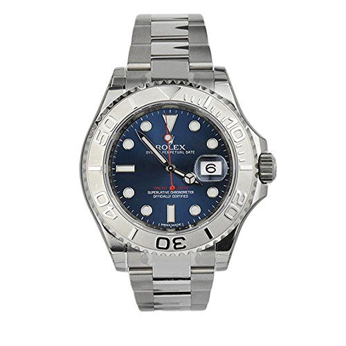 Rolex Yatch-Master Blue Dial Platinum and Steel MensWatch 116622 ** Be sure to c...