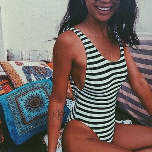 Sexy Fashion Backless Stripe One Piece Swimwear Bikini Swimsuit #swimsuitsonepie...