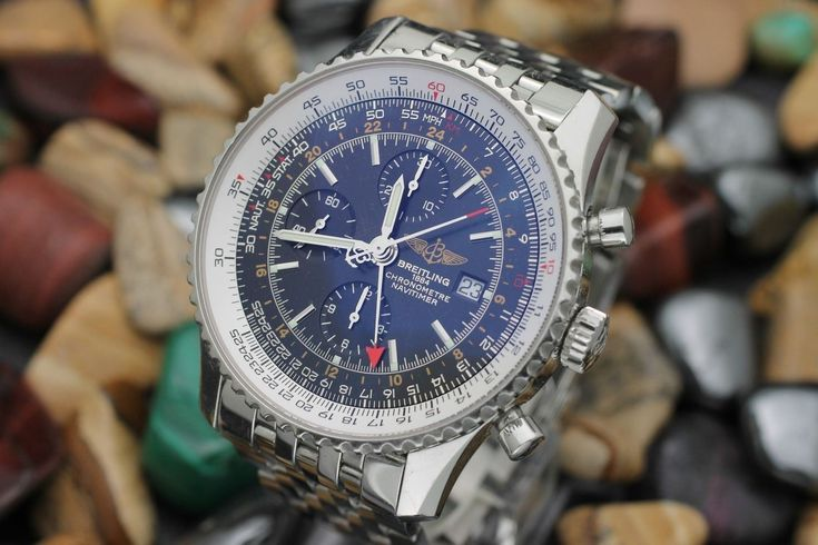 BREITLING Navitimer Automatic GMT Chronograph Ref. A24322 Steel Black Dial Watch...