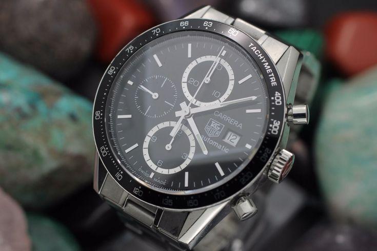 Details about Men's TAG HEUER Carerra Automatic Calibre 16 Chronograph CV-2010-2 S.S. Watch