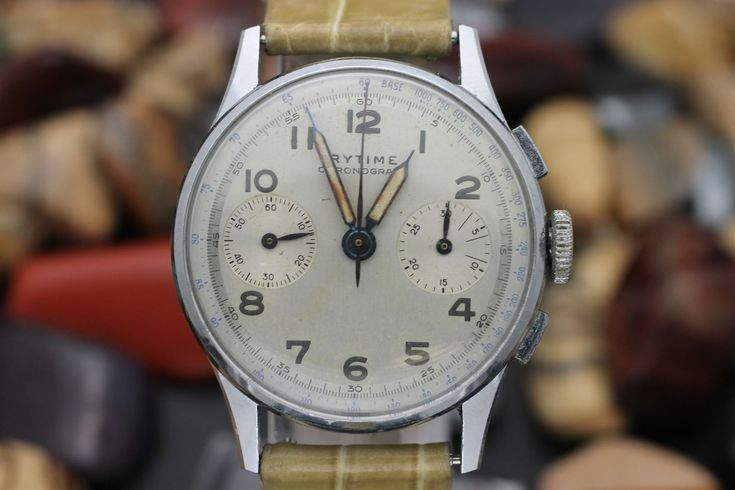 Details about Vintage RYTIME By FAIRFAX Chronograph Landeron Military Watch Amazing Patina
