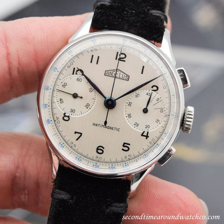 Fantastic! A 1950's era Angelus Chronograph with a chrome and stainless steel ...