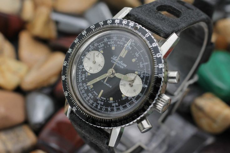 Vintage OLLECH & WAJS Selectron Computer Chronograph Valjoux 7730 Diver's Watch ...