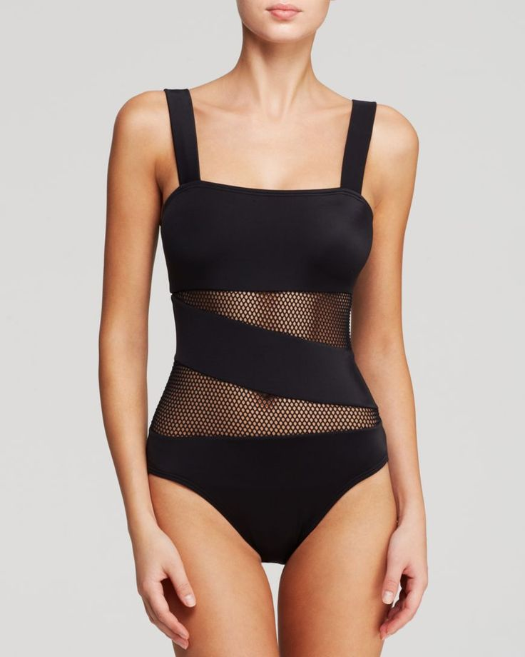 DKNY Mesh Effect Splice Maillot One Piece Swimsuit