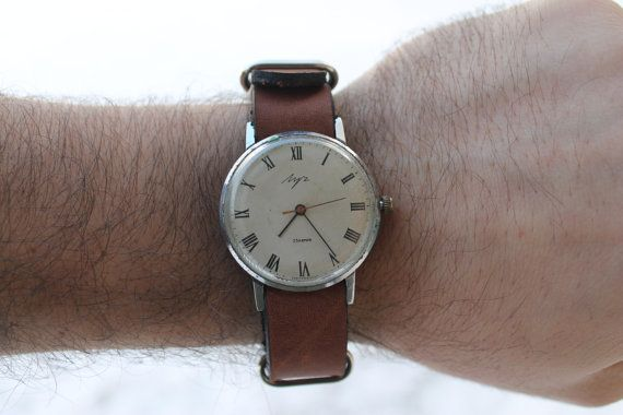 Rare silver watch RAKETA , mens soviet watch, retro watch, leather watch, vintage watch, russian watch, mechanical watch, watch men