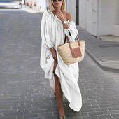 Classy Off-Shoulder Pure Colour Long Sleeve Casual Maxi Dress
