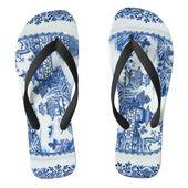 Blue Willow Flip Flops - You Have Arrived | Zazzle.com