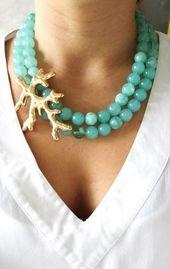 cuentas de collar de coral azul verdoso … - Mach Es Selbst DIY