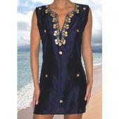 Neera Navy Tunic by Elizabeth Hurley Swimwear a at Pesca Boutique. Elizabeth Hur...