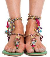 Rono Kobo Indian embellished wrap sandals...