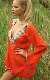 Zeugari 2013: Castada Flame Beachwear Coverup Long Sleeve Tunic 13005B   Swimwea...