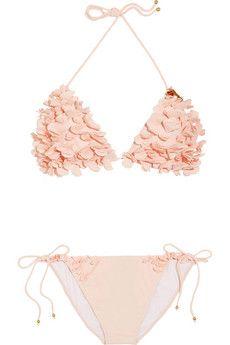 Floral appliqué triangle bikini