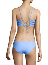 Kisuii Adrianna Smocked Bikini Top - Pale Blue White Navy X-Small