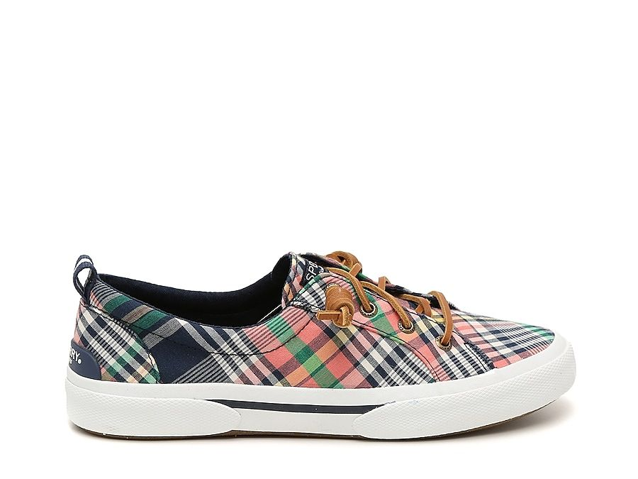 Women Pier Wave Slip-On Sneaker -Pink/Navy/White Plaid Print