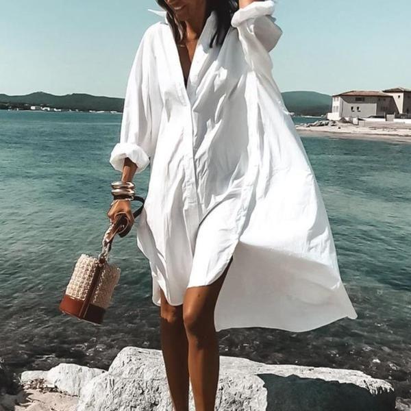 Aporath Never Letting Go White Shirtdress