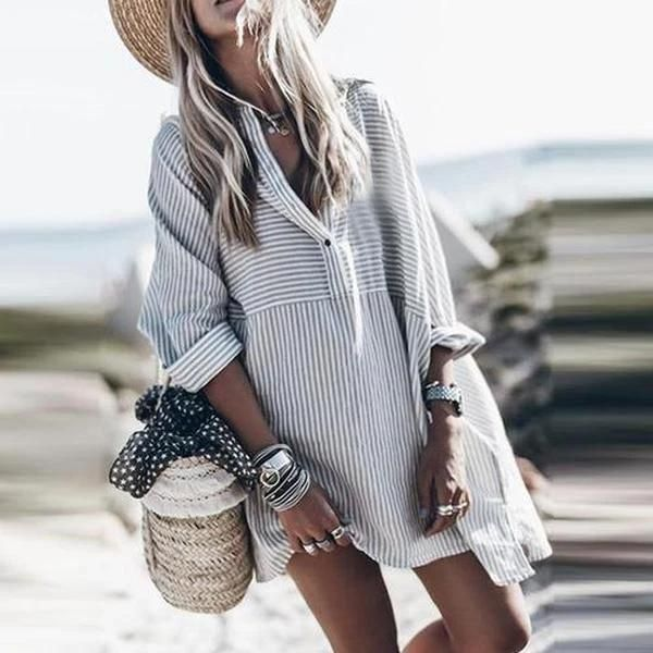 Aporath Stolen Glances Striped Shirtdress