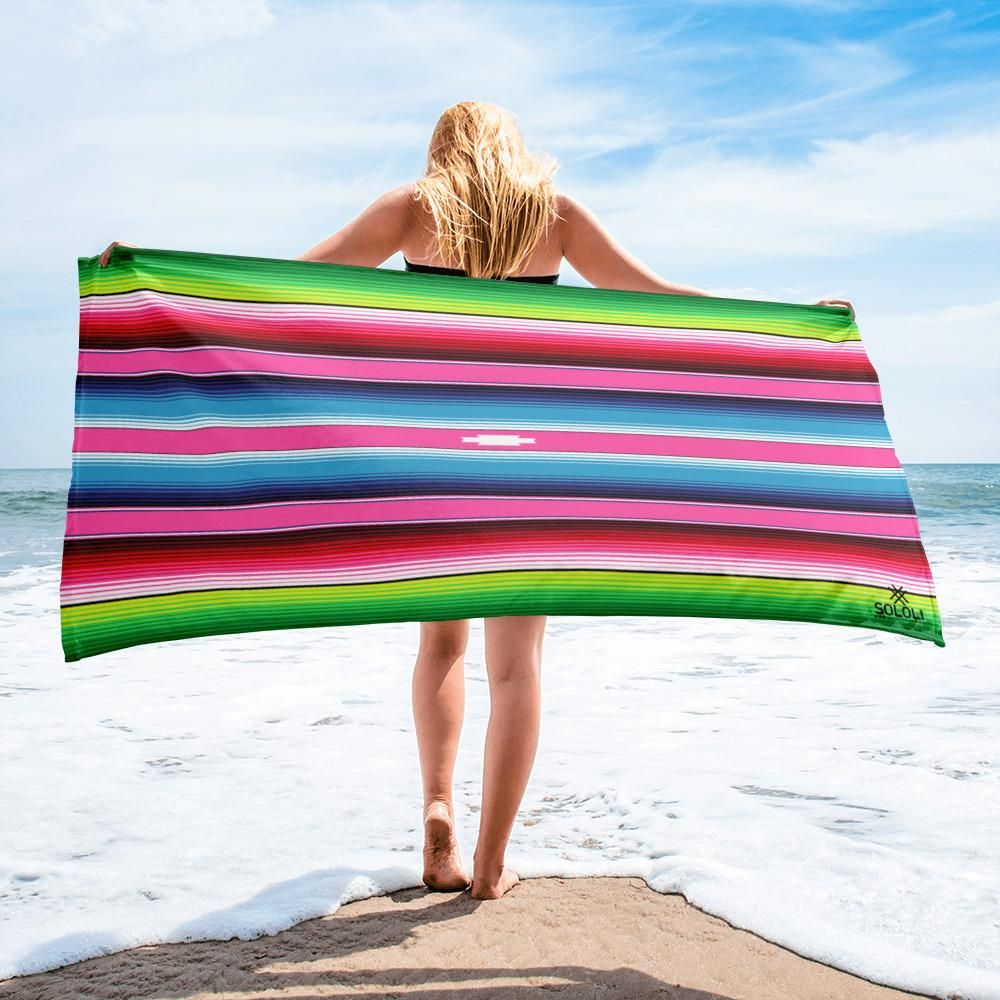 Pink Mexican Sarape Towel
