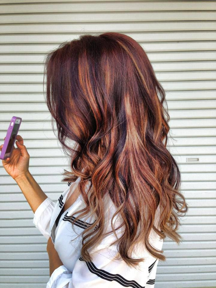 Hair Styles 2017 2018 Dark Brown Hair With Blonde And Red Highlights
