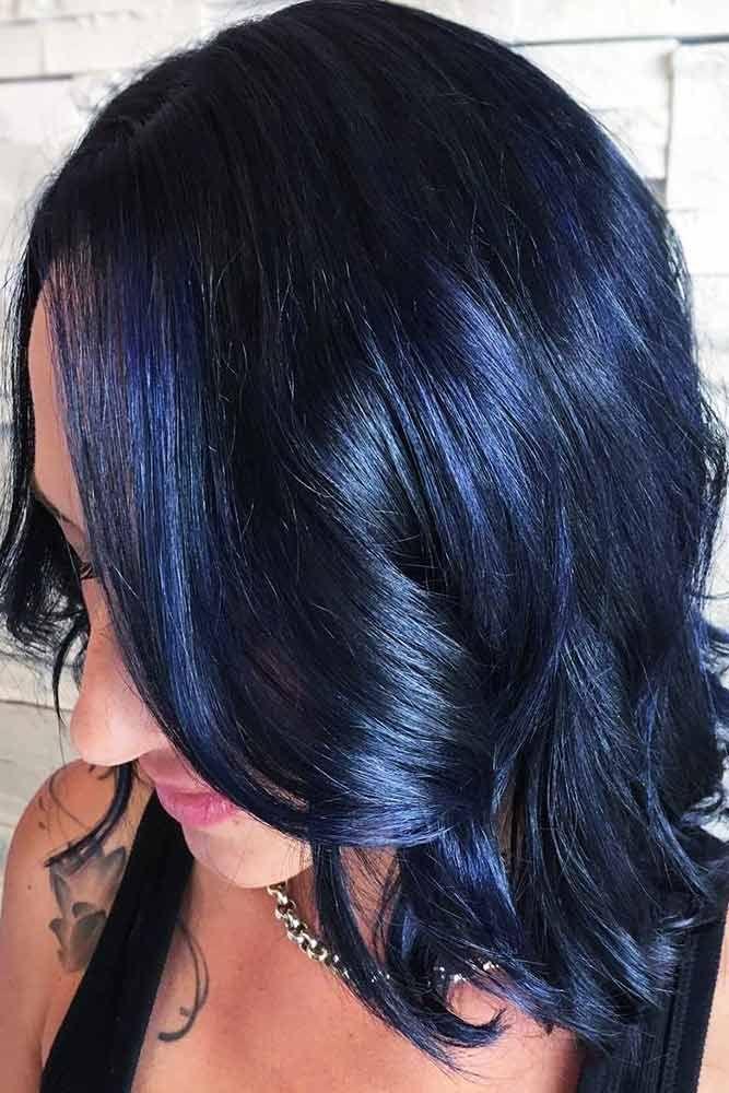 Hair Color 2017 2018 Midnight Blue Highlights On Dark Hair Brunette